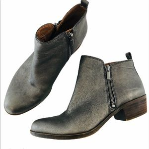 Lucky Brand Basel pewter leather zipper bootie 7.5